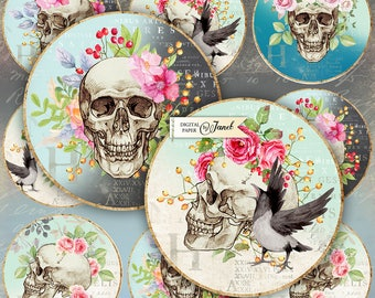 The Skull - 2.5 inch circles - set of 12 - digital collage sheet - pocket mirrors, tags, scrapbooking, cupcake toppers