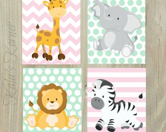 JUNGLE Nursery Art  - Safari Nursery Decor - Girls Nursery Art - 4 Piece Print Set - Playroom Wall Art - Mint and Pink Room Decor