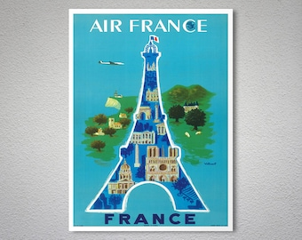 Air France  Vintage Airline Travel Poster - Art Print - Poster Print, Sticker or Canvas Print / Gift Idea