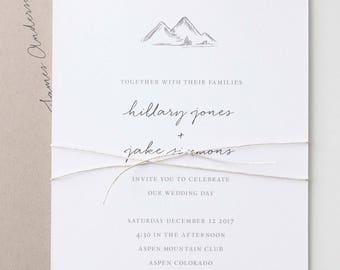 Mountains Wedding Invitation Sample   Mountain Wedding Invitations   Wedding Invites   Rustic Wedding Invitation   Mountain Illustration