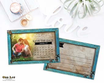Country Rustic Save the Date Postcard Turquoise Frame Photo Save the Date Postcard DIY Printable Wood Rustic Save the Date Cards ~TurqWood