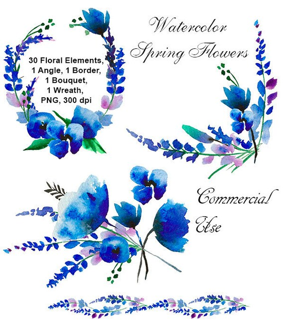 Watercolor Blue Flowers Clipart Floral