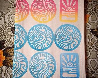 Hand Printed Tea Towel Ocean Sunset Dish Cloth Beachy