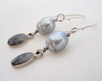 Pale Blue Pearl Earrings, Dangle Earrings, Silver/Gray Pearl Earrings