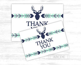 Deer Thank You cards Mint Navy Woodland Deer arrows Party Thank You cards Thank You notes Birthday party Baby shower (PDWSI041)