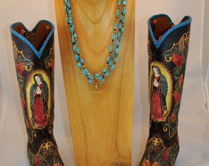 Rockstar Cowgirl Three Strand Campitos Turquoise and Gold Skull Necklace