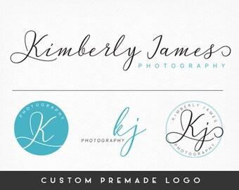 Premade Logo Design, Calligraphy Logo, Handwritten Logo, Photography Logo, Blue Logo, Sub marks + Watermarks,  Branding Kit