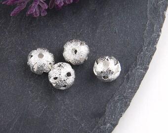 Silver, Stardust Laser Cut Ball Beads, Laser Beads, Laser Cut Brass Beads, 4 pieces // SB-110