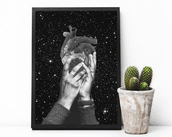 "Heart art print, black and white art, human heart print, collage art, surreal art print, space art, anatomical heart - ""Heart says hold on""."