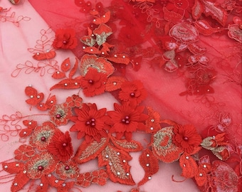 Luxurious Red Beaded Lace Fabric With 3D Flowers, Mesh Lace Fabric With 3D Floral, Embroidered Lace Fabric