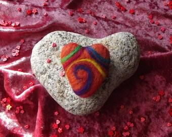 Heart Brooch - Heart Broach, Heart Pin, Felt Heart, Handmade, Spiral, OOAK, SALE