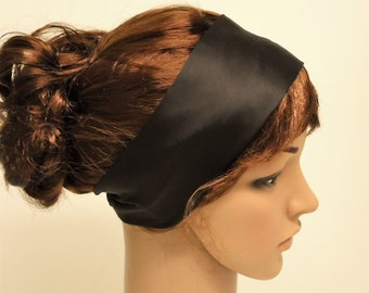 Dark brown yoga headband, satin fitness headband, running headband, workout hairband, silky head ribbon