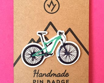 Mountain bike pin badge, pin collectibles, MTB, mountains, adventure, handmade