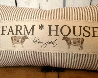 Farmhouse pillow Vintage Rustic style ticking stripe pillow Prairie Prim charm ECS RDT FVGteam OFGteam SVFteam