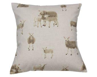 Lamb Sheep Countryside Animal Print Cushion Cover