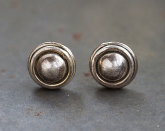 Round Silver Earrings - Sterling Silver Circle Studs - Vintage Oxidized Jewelry