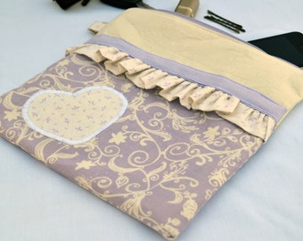 Lavender heart clutch, valentines day gift, purse, womens valentines gift, summer clutch, cosmetic bag, wedding clutch, wristlet, handbag