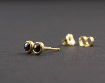 Black Diamond Stud Earrings - 18 Karat Yellow Gold - Rose Cut Diamonds - Matte Finish Gold Post Earrings