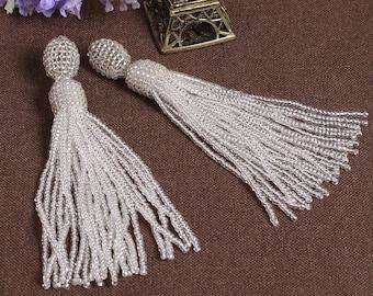 White beaded tassel earrings,Beaded earrings in Oscar de La Renta style, long tassel beaded earrings, oscar de la renta tassel earrings