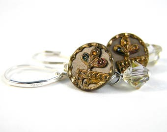 Vintage Button Earrings - Antique Vintage Buttons, Swarovski Crystal & Sterling Silver - Mixed Metals Colorway - LIMITED!!!