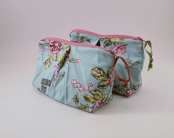 Zippered Pleated Pouch in a French Floral Print Cosmetic Bag Joie De Vivre Bag