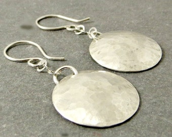 Silver Disc Earrings, Sterling Silver Disc Earrings, Eco Friendly Jewelry Gifts for Her