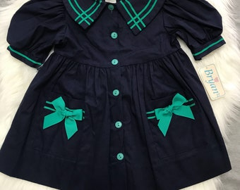 Vintage 2T Deadstock Nautical Dress - Navy with Bows and Pockets - Button Up