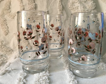 Vintage cherry blossom juice tumblers/pink blue flower glasses/barware/drinkware/ice tea glasses/1960s/spring water glasses set of 4