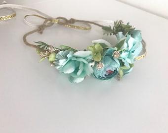 Aqua flower crown- baby Flower Crown- Floral crown-Flower Girl crown, bridal flower crown- Well dressed wolf