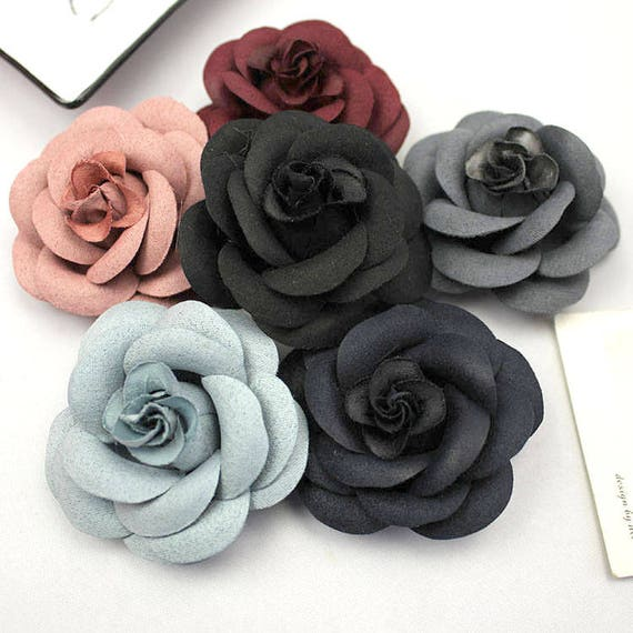 2 Pieces Blue Flowers Black Grey Burgundy Flower Rose Fibre Shoe Clips Supplies Hair Accessories From