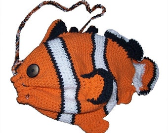 Clownfish Drawstring Bag - Crochet Pattern (PDF)