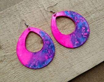 Pink and Blue Earrings, Paper Earrings, Hand Painted Earrings, Teardrop Earrings, Blue Earrings, Hot Pink Earrings, Abstract Earrings