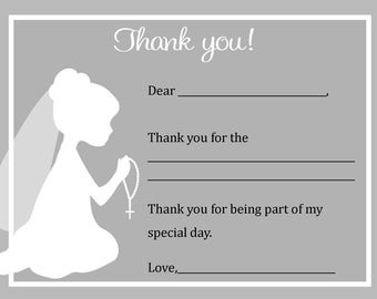 First Communion Thank You Card  - Digital file - You print / First Communion Girl Thank you card