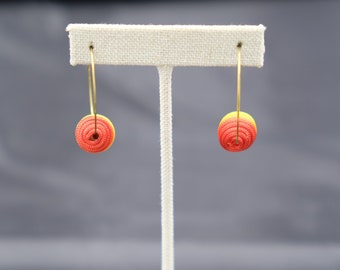 Yellow and Red Hoop Thread Earring