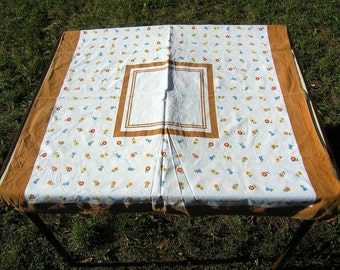 Vintage Square Cotton Tablecloth, Retro Floral Tablecloth Multi-colored with brown accents, Vintage Floral Linens