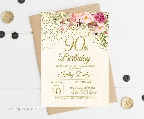 90th birthday invitation floral ivory birthday invitation filmwisefo