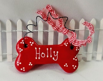 Dog Ornament, Personalized Dog Ornament, Gift under 5 Dollars, Custom Dog Bone Christmas Ornament, Pet Lover Gift