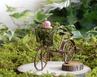 Fairy Garden accessories  bike bicycle for terrarium or miniature garden with pink polymer clay snail