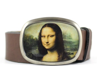 Mona Lisa Belt Buckle, Wearable Art Belt Buckle