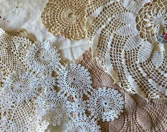 Vintage Doilie Collection, Eight Different Doilies, Beautiful, Good Condition