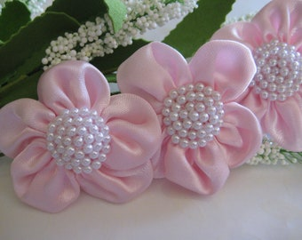 Pink Satin Flowers Pearls Center Appliques, Party Dresses, Wrist Cuff Flowers, Flower Girl Dresses, Embellishment, 50 mm, 6 or 12 pieces