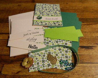 March, Spring, Several Occasion card kit with One handmade card and supplies to make Three more