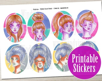 Printable Collage Sticker Sheet PDF of 12 Oval Hand Drawn Cute Girl Stickers, Digital Download Collage Elements by Windy Iris