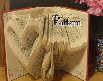 Love (heart) you - Folded Book Art Pattern - Instant Download
