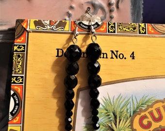 Long Black Glass Dangle Earrings