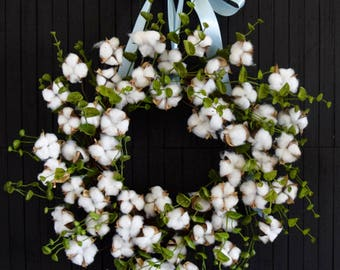Farmhouse Cotton Stem and Eucalyptus Greenery Front Door Wreath