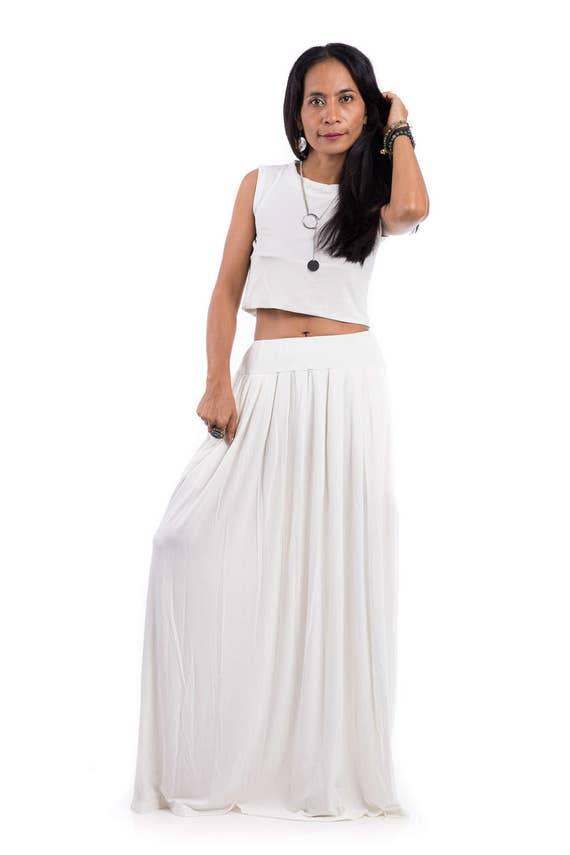 Maxi Skirt Off White Skirt Long White Skirt Women's