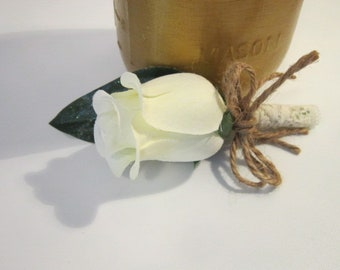 wedding, groom, boutonniere, cream rose boutonniere, rustic, vintage inspired, special occasion, father of the groom, timelesspeony