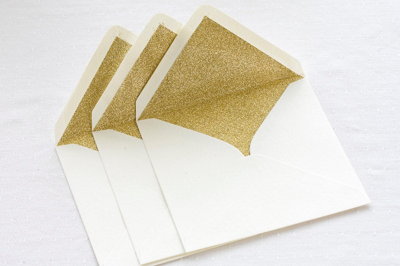 Gold glitter lined envelopes Sparkly gold envelopes for on
