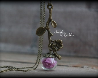 Bronze Glass ball flower necklace with real beach lilac